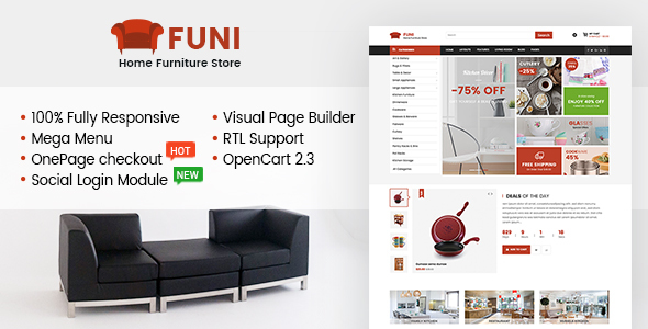Funi - Drag & Drop eCommerce OpenCart 2.3 Theme