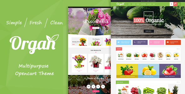 Organ - Organic Food & Flower Store Responsive OpenCart Theme