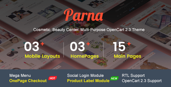 Parna - Multipurpose Responsive OpenCart 2.3 Theme | Cosmetic Store | Beauty Center | Fashion Store