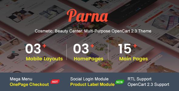 Parna - Multipurpose Responsive OpenCart 2.3 Theme | Cosmetic Store | Beauty Center | Fashion Store