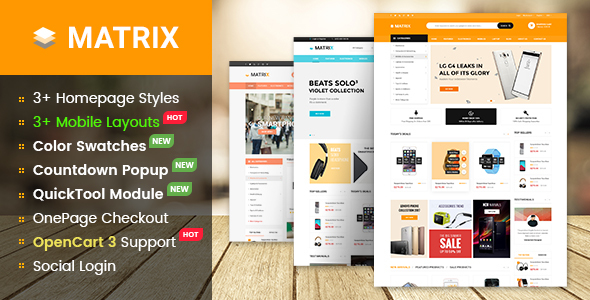 Matrix - Highly Customizable & Multipurpose eCommerce OpenCart 3 Theme With Mobile-Specific Layouts