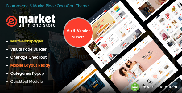eMarket - The eCommerce & Multi-purpose MarketPlace OpenCart 3 Theme (Mobile Layouts Included)