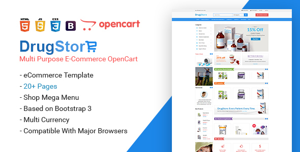 Drug Store Multipurpose e-Commerce OpenCart Theme
