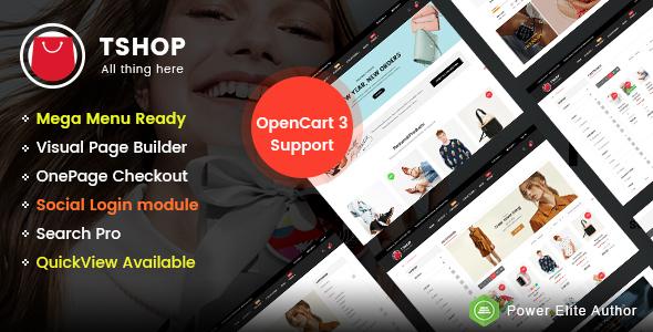 TShop - Multipurpose Responsive eCommerce OpenCart 3 Theme