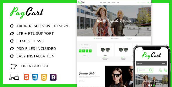 Paycart Glasses Store - Opencart 3 Theme