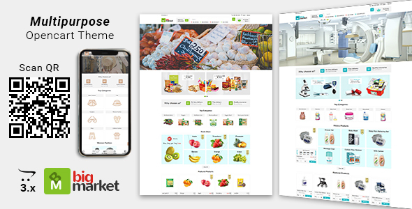 Bigmarket - Multipurpose Responsive  Grocery | Drugs | Fashion Opencart 3.X Theme