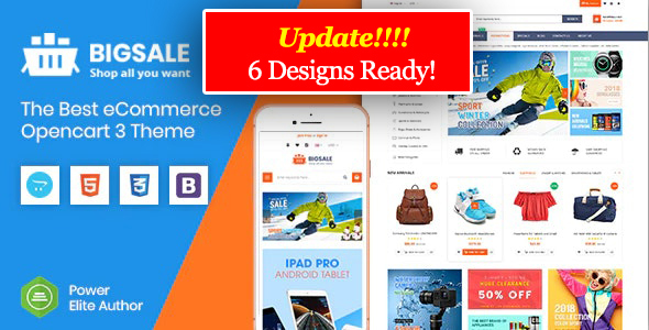 BigSale - The Multipurpose Responsive SuperMarket Opencart 3 Theme ( 6 Designs Ready!)